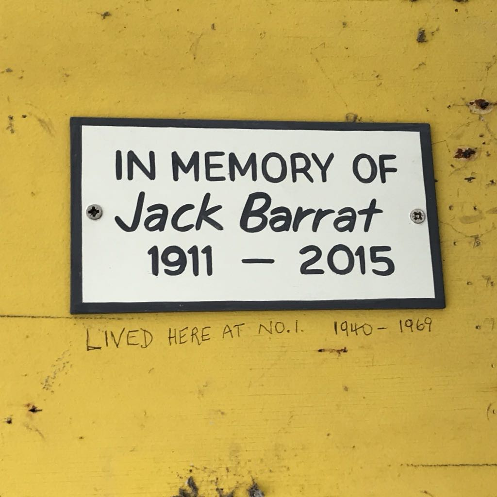 In memory of Jack Barrat 1911–2015. And scratched underneath: Lived here at No. 1 1940–1969.